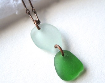 Double Drop Authentic Sea Glass Pendant Necklace in Copper with Sea Foam Green and Kelly Green Glass
