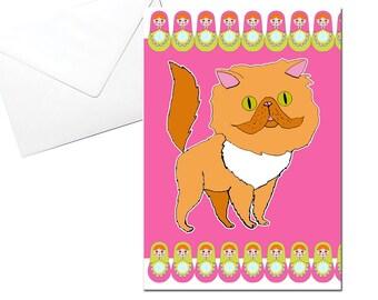 Cat Greeting Card, Persian, Russian Nesting Dolls