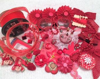 RED Inspiration Kit, Mixed Media Supplies, Scrapbook Embellishments, Handmade and Commercial Destash Supplies