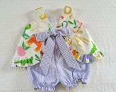 Ruffled Bow Back Swing Back Pinafore Top Bloomers Set baby or toddler - 3 mos to size 4 - Zoo Bisou Collection