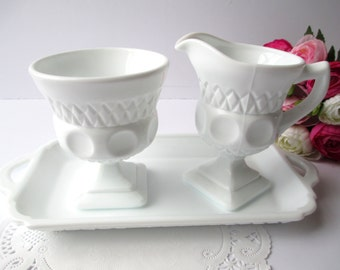 Vintage Colony Milk Glass Thumbprint Cream Sugar and Tray Set