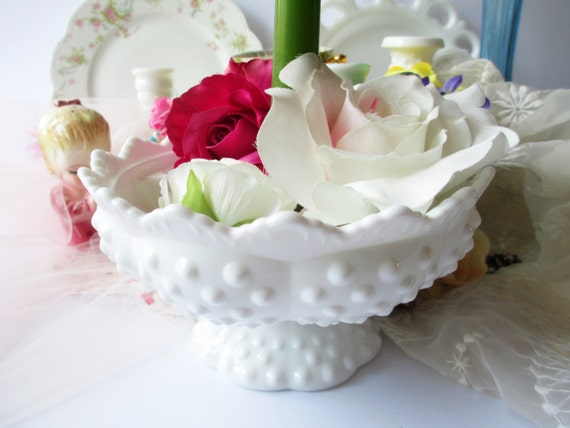 Vintage Fenton Milk Glass Hobnail Candle Bowl - Weddings Tea Parties