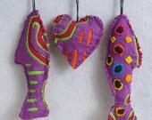 Reverse Applique Mola Primitive Tattered Heart Fish ornaments