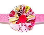 "Pink fabric flower for dog collar, flower for 1"" dog collar, handmade fabric flower"
