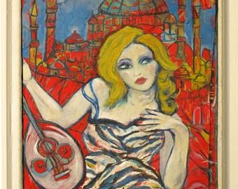 Self Portrait in Istanbul ~ Original Contemporary Fine Art Original Mixed Media painting