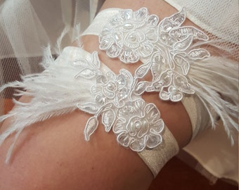 White Beaded Lace Garter Set Ostrich Feather Wedding Accented Bridal Wedding Garter Set