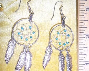 Handmade Dream Catcher Earrings - Silvetone, Turquoise beads - metal feathers