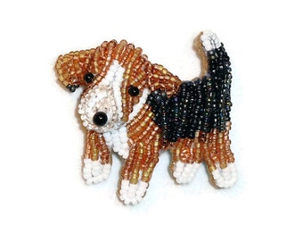 POCKET BEAGLE Tiny Beaded Keepsake Dog Pin Pendant Art Jewelry / Ready to Ship/ Free US Shipping