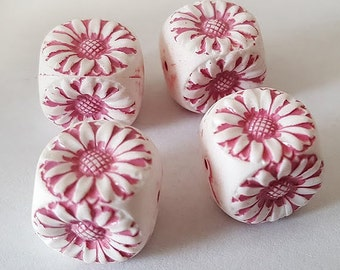 14x13.5mm Antique Pink White etched floral cube acrylic beads - 6pcs