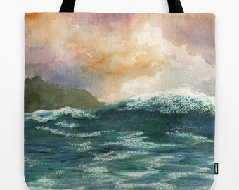 Tote Bag Sea View 264 Ocean Waves All over print from art painting L.Dumas Artbylucie Totes