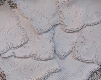 Set 8 Vintage Near White Linen  Wedding  Napkins, Occassions Napkins