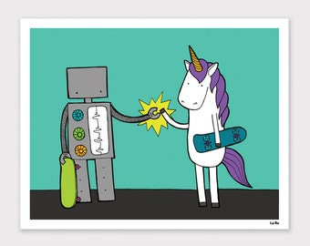 Robot and Unicorn Print
