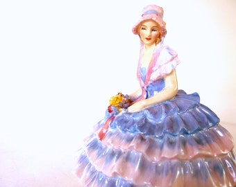 Vintage Royal Doulton Chloe Figurine, Periwinkle and Pink