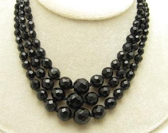 Faceted Austrian Black Glass Beads Vintage Multistrand Necklace N6962