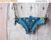 Blue Butterfly Pendant Cobalt Blue Butterfly Necklace Midnight Blue