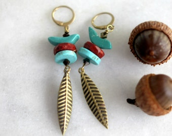 Birds of Autumn Earrings, Turquoise, Red Jasper, Fall Leaves, Gold Brass, Fall Fashion