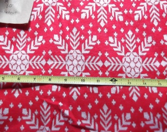 Vintage Double Knit Fabric-Design Is Red and White Snowflakes Around 3 Yards