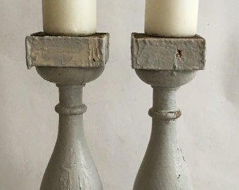 TW0(2) RECLAIMED Wood Balusters SHABBY Candle Stands Crusty White Vintage Chic 134-16