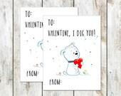 Puppy Valentine - I Dig You Valentine - Class Valentine - Printable Valentine