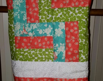 "Baby Quilt Handmade Baby Blanket 100 % Cotton 37"" X 41.5"""