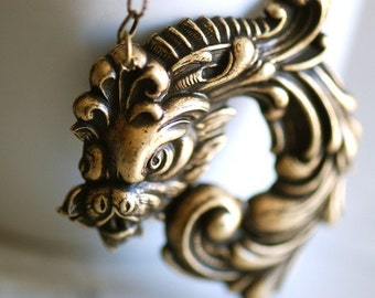 Victorian Dragon Necklace - Made in USA Brass Ox Stamping - Insurance Included