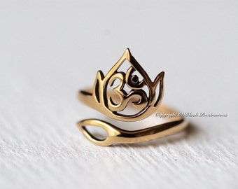 Openwork Lotus and Ohm Adjustable Ring - Natural Bronze Finish - Renge Feng Shui Lian Hua - Insurance Included
