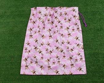 Monkeys and stars pink cotton drawstring bag for girls, large kindy sheet bag, toy bag or pyjama bag