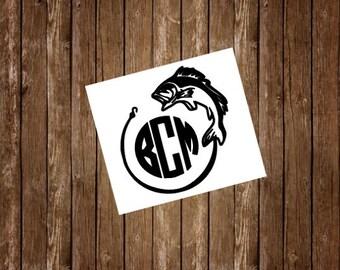 Rambler Decal, Fishing Monogram, Yeti Decal for Men, Yeti Cup Decal, Yeti Sticker, Yeti Monogram