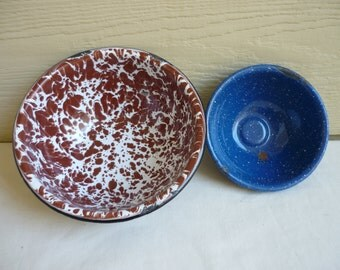 Vintage Enameled bowls, one brown and white granite ware bowl, one blue and white enamelware bowl