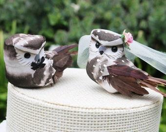 Owl Cake Wedding Topper in Cocoa Brown: Bride & Groom Love Bird Cake Topper -- LoveNesting Cake Toppers