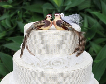 Brown Bird Wedding Cake Topper with Long Tailfeathers: Bride & Groom by LoveNesting Cake Toppers