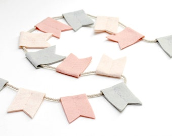 Modern Felt Bunting Flags. Nursery Decor. Blush and Gray Wall Hanging. Soft Notched Flag Garland. Handmade by OrdinaryMommy on