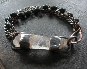 Tethered - Rough Quartz Crystal Point Bracelet with Mixed Metal and Black Rosary Beads