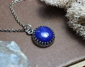 Lapis Necklace Crown Setting Antiqued Silver Blue Gemstone Cabochon Lapis Lazuli Necklace