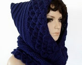Crochet Hood Cowl Blue Navy Color Crocodile Scale Dragon Scale Medieval Riding Hood