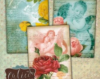 Romance and Roses, Collage Sheet, Digital Tag, Printable Labels, Romantic Images, Rose Images, Digital Download, Printable Download