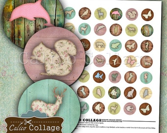 Shabby Chic Animals Digital Collage Sheet 1 Inch Circles for Cabochons, Bottlecaps Images, Printable Circles, Decoupage Paper, Magnet Images