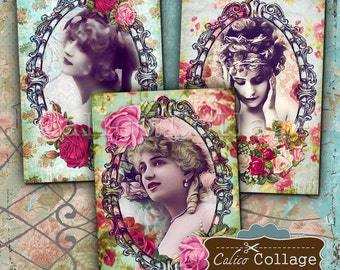 Lady Roses 2.5x3.5 inch size Tags Digital Collage Sheet Printable Download Vintage Paper Craft Greeting Cards Paper Gift Tags,  Burlesque