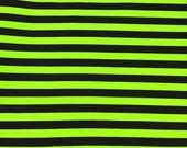 "Monster green black 1/2"" stripes knit cotton lycra 1 yard"