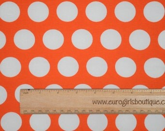 Knit orange with white dots 1 yard cotton spandex knit