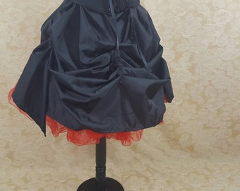 Black Knee Length Tie Bustle Skirt-One Size Fits All