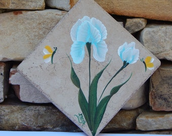Hand Painted Ceramic Tile Trivet with Light Blue Iris
