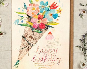 Happy Birthday Bouquet - Greeting Card