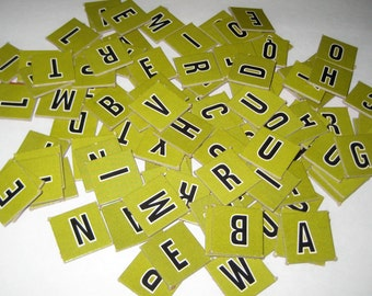 Vintage Green  Cardboard Letter Game Tiles for Altered Art, Collage, Scrapbooking, etc.