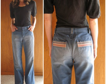 1990s MARC JACOBS rainbow stripe wide leg jeans 8, 32 x 35
