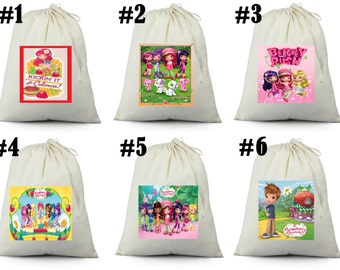 12 STRAWBERRY SHORTCAKE    Birthday Party Favor Candy Loot Treat Drawstring Bags