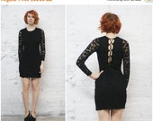 Valentine SALE vintage CACHE black lace lbd with corset lace up back / black bandage body con cocktail dress