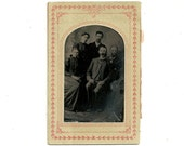 Antique Victorian Tin Type Photograph Family Portait Vintage Tintype Photo In Paper Frame