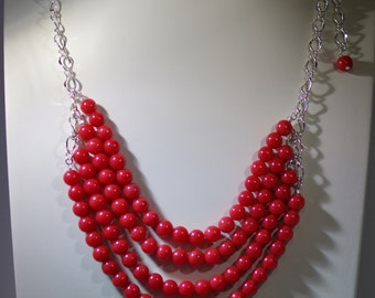 Gemstone Multi-Strand Necklace - Red Mountain Jade - Several Colors Available - Adjustable