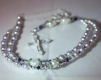Swarovski Crystal & Pearl Rosary Necklace - Sterling Silver - Anglican, Catholic - Made to Order - Any Colors